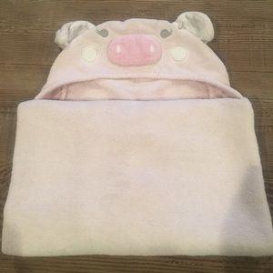 EUC Pottery Barn Kids pig nursery towel - pink